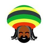 Rastaman具体化 Rasta盖帽和dreadlocks 标志rastafarianin J 图库摄影