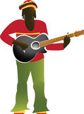 Rastaman. Jamaican man in bright clothes playing guitar vector illustration