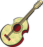 Rastaman acoustic guitar painted with leaves of cannabis
