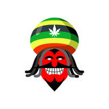 Rastaman devil. Rasta cap and dreadlocks. Satan for Rastafarians Stock Images