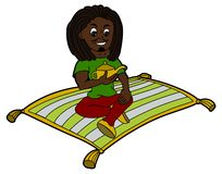 Rastaman flying on a magic carpet Royalty Free Stock Images