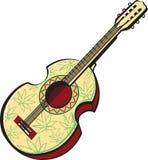 Rastaman gitara akustyczna malująca z liśćmi marihuany royalty ilustracja
