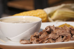 Rasted meat with corn sauce Royalty Free Stock Photo