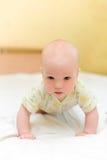 Rastejamento do bebê na cama imagens de stock
