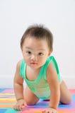 Rastejamento e vista do bebê. fotografia de stock