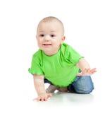 Rastejamento engraçado do bebê Fotografia de Stock Royalty Free
