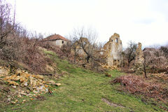Rastelica village and destroyed serbian houses Stock Photography