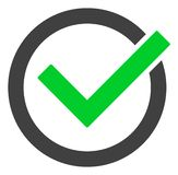 Raster Accept Tick Icon. Accept tick raster icon symbol. Flat pictogram is isolated on a white background. Accept tick pictogram designed with simple style vector illustration