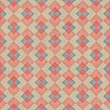 Raster błękita dębnika lampasa Bezszwowy Diagonalny Czerwony Rhombus Blokuje siatki Grunge Retro wzór Obrazy Royalty Free