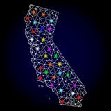 Raster Carcass Mesh Map of California with Glowing Spots for Christmas royalty free illustration