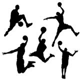 Silhouette of basketball player in different on white background stock illustration