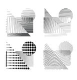 Raster effect dotted figures. Four raster effect dotted figures. Black dots and lines on white background stock illustration