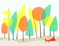 Raster-EIn Fuchs geht in den Wald an einem schwermütigen Tag. Lizenzfreie Stockfotografie