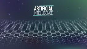 Raster för bakgrund 3d Wireframe för nätverk för Ai-techtråd futuristisk konstgjord intelligens Cybersäkerhetsbakgrund Royaltyfri Fotografi