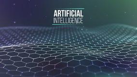 Raster för bakgrund 3d Wireframe för nätverk för Ai-techtråd futuristisk konstgjord intelligens Cybersäkerhetsbakgrund Royaltyfria Bilder