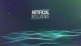 Raster för bakgrund 3d Wireframe för nätverk för Ai-techtråd futuristisk konstgjord intelligens Cybersäkerhetsbakgrund Arkivfoton