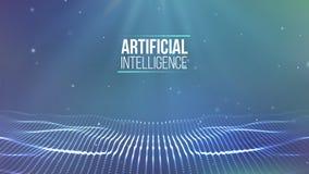 Raster för bakgrund 3d Wireframe för nätverk för Ai-techtråd futuristisk konstgjord intelligens Cybersäkerhetsbakgrund Arkivbilder