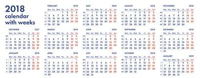 raster för 2018 kalender med veckaillustrationen Arkivfoto