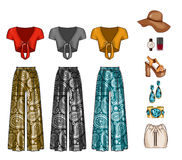 Raster Fashion Illustration - Clip Art Set of woman`s clothes, accessories and cosmetics. Royalty Free Stock Photo