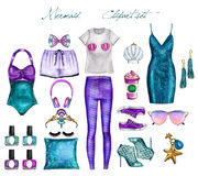 Handmade Raster Fashion Illustration - Mermaid outfit set - clip art set royalty free illustration