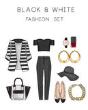 Raster Fashion Illustration set - Clip Art Set of woman's clothes and accessories Royalty Free Stock Photos