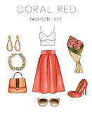 Raster Fashion Illustration set - Clip Art Set of woman's clothes and accessories Stock Photography