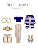 Raster Fashion Illustration set - Clip Art Set of woman's clothes and accessories Royalty Free Stock Images