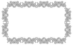 Raster frame with cherub in vintage style. Stock Image