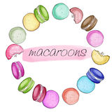 Raster Frame Illustration made with macaroons cookies Stock Photography