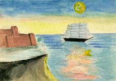 Raster graphics, artistic, illustration of landscape with sea, m. Hand drawn illustration, raster graphics, artistic, illustration of landscape with sea, moon Stock Images
