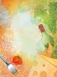 Raster hand drawn illustration Mediterranean cuisine. Stock Images