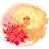 Raster illustration of the bride. With red flowers Stock Photo