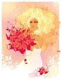 Raster illustration of the bride. With red flowers Royalty Free Stock Photo