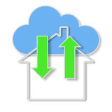 Raster Illustration of Cloud with Information being passed back and forth between Home and Devices, Symbolizing Everywhere Informa Royalty Free Stock Photography