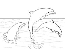 Raster of imitation retro comic style. Rest on the sea, three dolphins play in the water. Book coloring for children. Raster illustration of imitation retro vector illustration