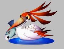 Heron holding a fish in the beak stock illustration