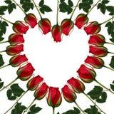 Raster Illustration - Red roses heart shaped Frame - Postcard Stock Image