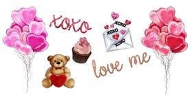 Raster-Illustration - Sammlung Gegenstände - Valentine Theme - Ballone, Teddybär, Liebesbrief, kleiner Kuchen, Texte Stockfotos
