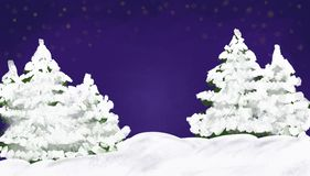 Winter landscape with pine trees and stars. Stock Images