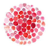 Raster illustration template, based on red and pink watercolor smears, brush daubs in circle. Mosaic round form, isolated on white. Raster illustration template Royalty Free Stock Photo