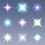 Raster lens flares. Set collection Stock Images