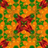 Abstract colored picture. Raster Mandala. Colored round ornament pattern on a orange, green and red colors Royalty Free Stock Photography