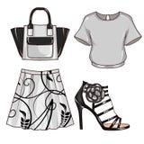 Raster-Mode-Illustration - befestigen Sie Art Set der Kleidung und des Zubehörs der Frau Stockfotos