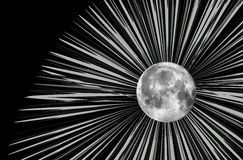 Raster moon illustration. And rays Royalty Free Stock Photography