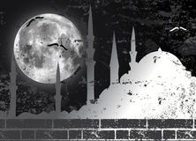 Raster moon and mosque illustration Royalty Free Stock Photography