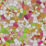 Raster-nahtlose Mehrfarbenziegelstein-Pflasterung Kreistilings-Muster Lizenzfreie Stockfotografie