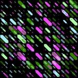Raster-nahtlose parallele geometrische diagonale Form in den grünen und rosa Neonfarben auf schwarzem Hintergrund Lizenzfreie Stockfotografie