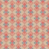 Raster-nahtloser diagonaler roter blauer Tan Stripe Rhombus Blocks Grid-Schmutz-Retro- Muster Lizenzfreie Stockbilder