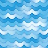 Raster-nahtloses Blau schattiert Steigungs-Meereswoge-Linie Muster Lizenzfreies Stockfoto