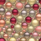 Raster-nahtloses neues Jahr Christmass-Baum-Feiertags-Ball-Durcheinander-Muster Stockfotografie